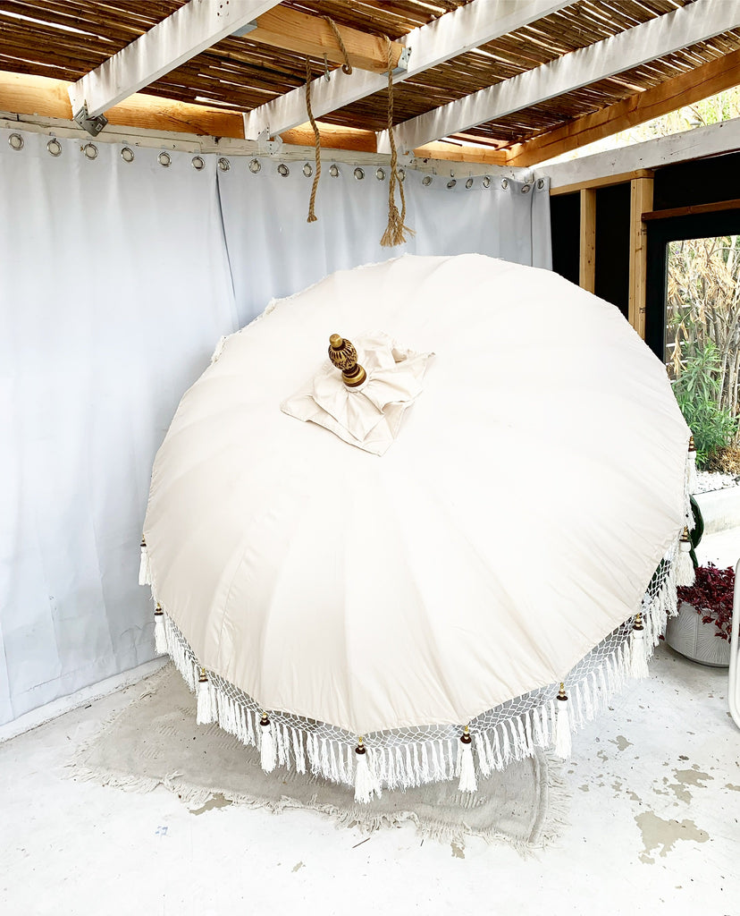 Preorder for a Mid May Arrival - 6ft White Sands Balinese Bali Ceremonial Umbrella with Cream Fringe