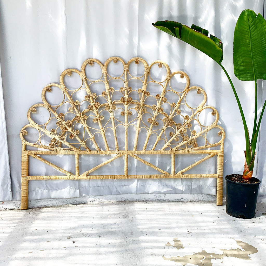 Peacock Cloud Rattan Headboard - Queen / King - Natural