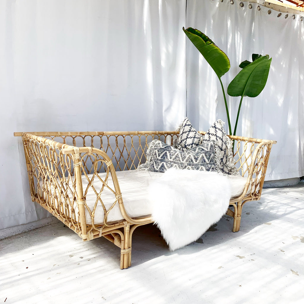 Cleo Rattan Loveseat Sofa - Natural