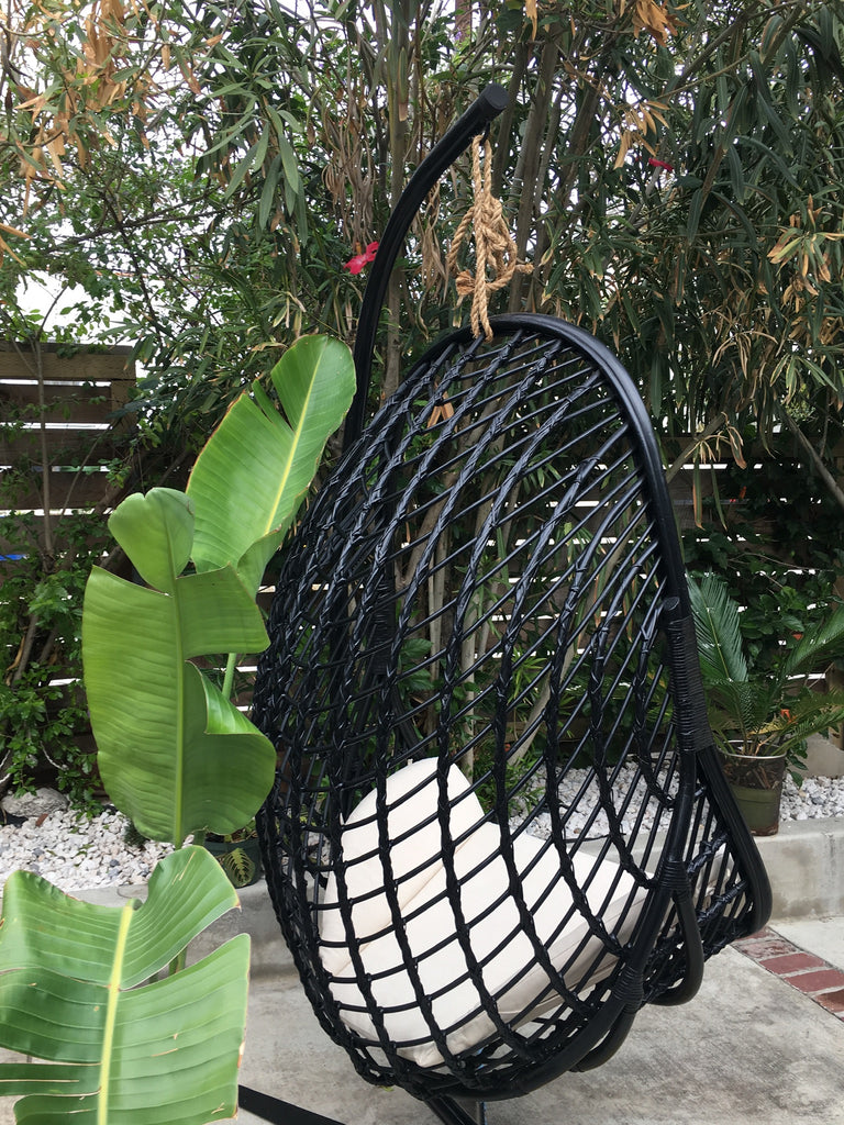 Siren Rattan Hanging Chair - Noir/ Black