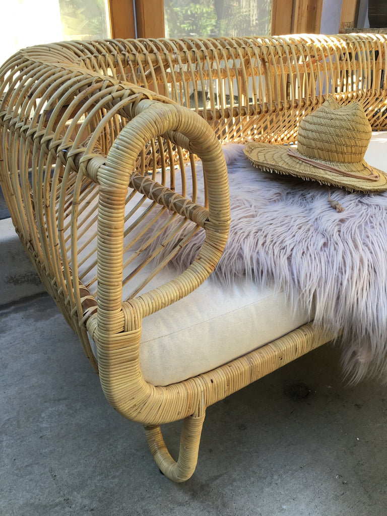 Cuban Rattan Love Seat - Natural Light