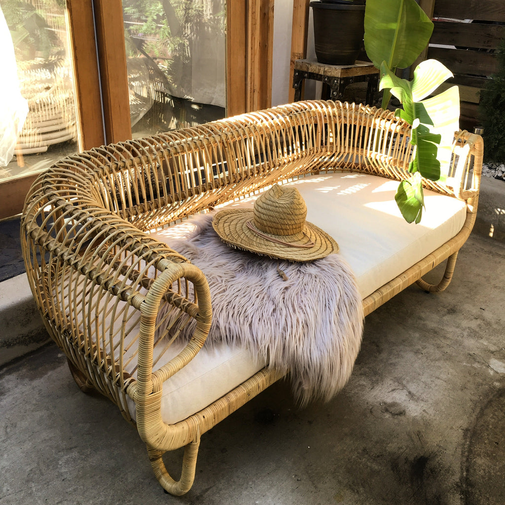 Cuban Rattan Sofa - Natural - Preorder for a Late August/ Early September 2019 Arrival