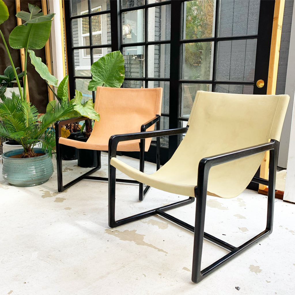 The Sedona Leather Sling Teak Chair Mid Century Scandi - Cream Leather w/ Black Frame