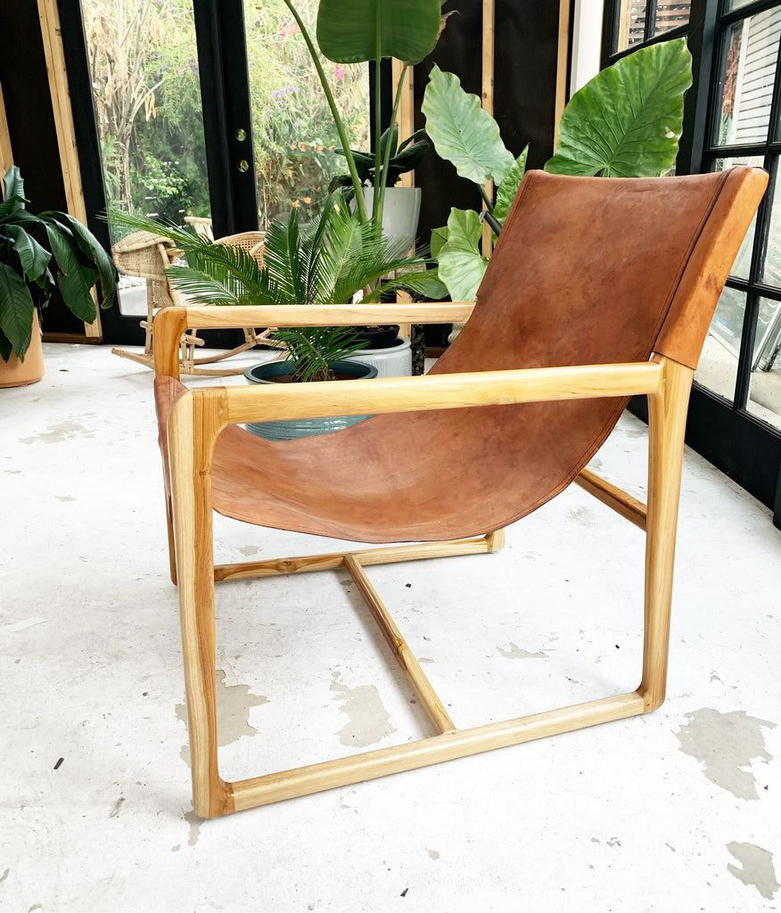 The Sedona Leather Sling Teak Chair Mid Century Scandi - Brown Leather w/ Natural Frame