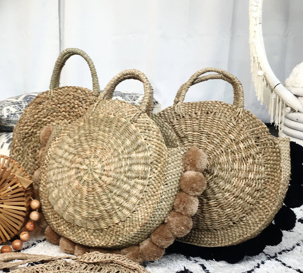 Round Natural Medong Tote w/ Natural Brown Poms