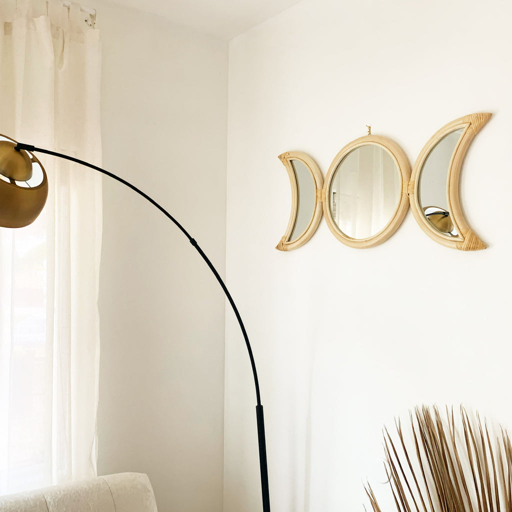Phases Moon Rattan Mirror