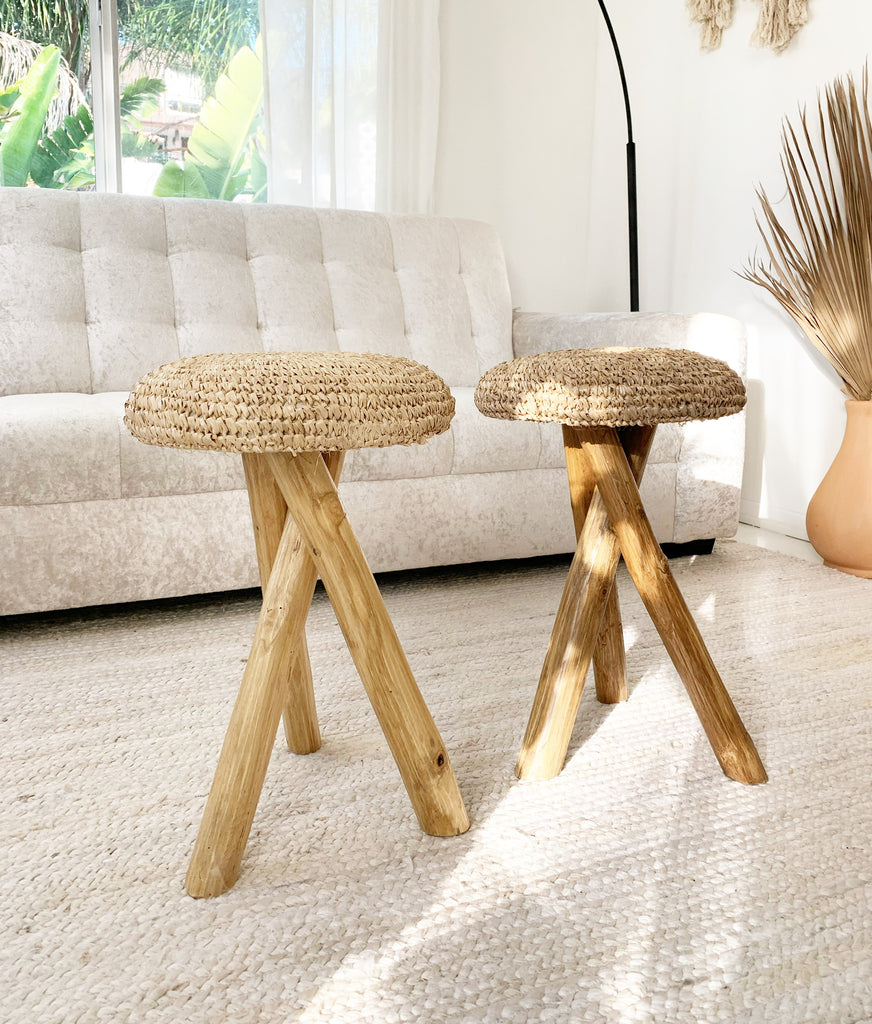 Small Organic Teak Root Stool