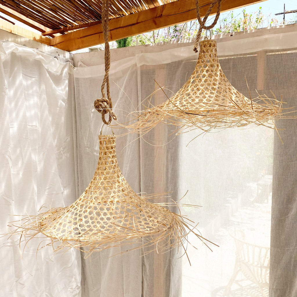 Organic Rattan Fisherman Hat Pendant Light - Med, Large