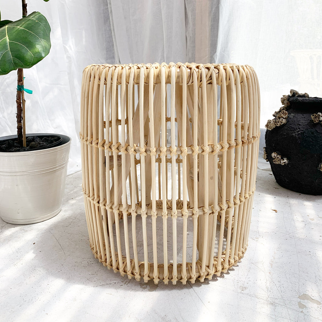 Classic Rattan Side Table Stool - Natural