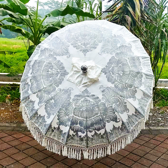 New Full Painted Silver Bali Umbrella - 6ft