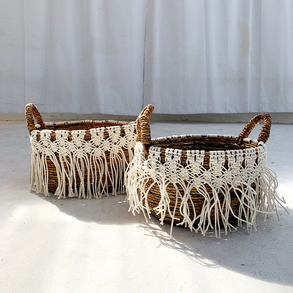Banana Bark /Macrame Baskets - Set of 2