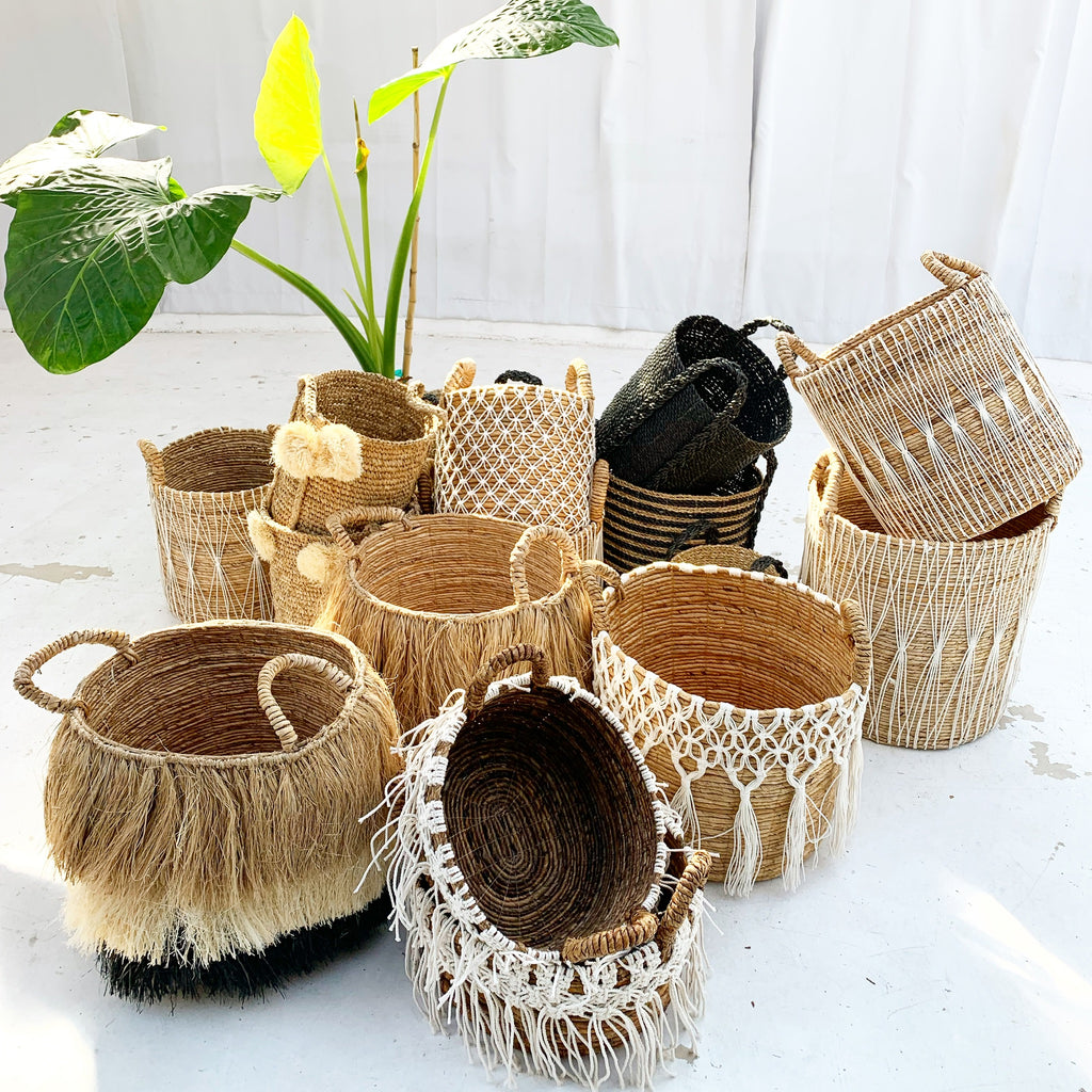 Raffia w/ Pom Pom baskets- Set of 2