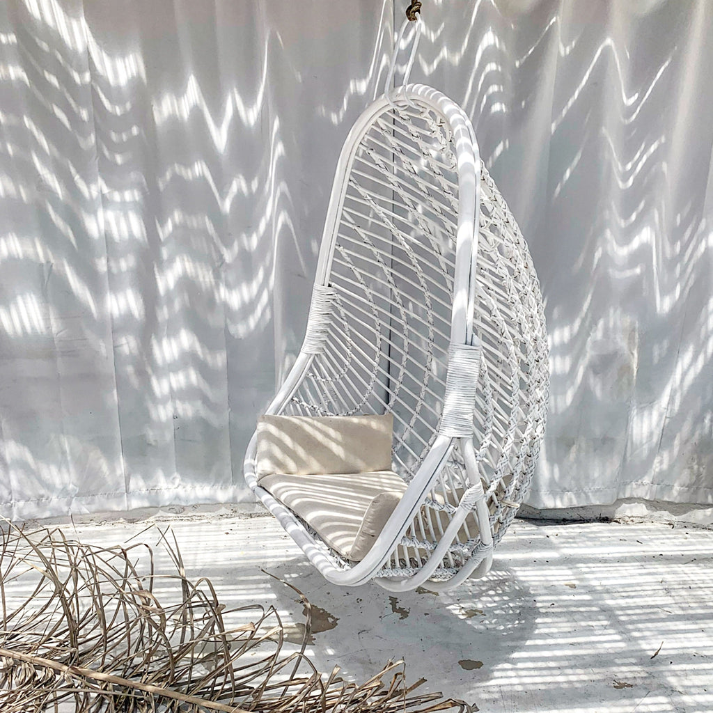 Siren Rattan Hanging Chair - White