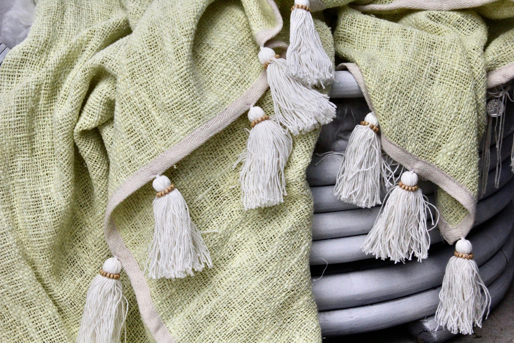 Hand Woven Cotton Blanket from Bali - Light Green