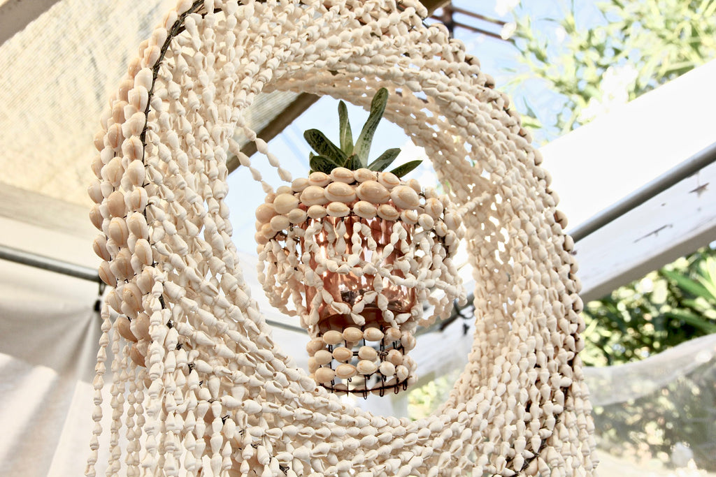Large Handmade Dream Catcher + Planter Sea Shell Chandelier
