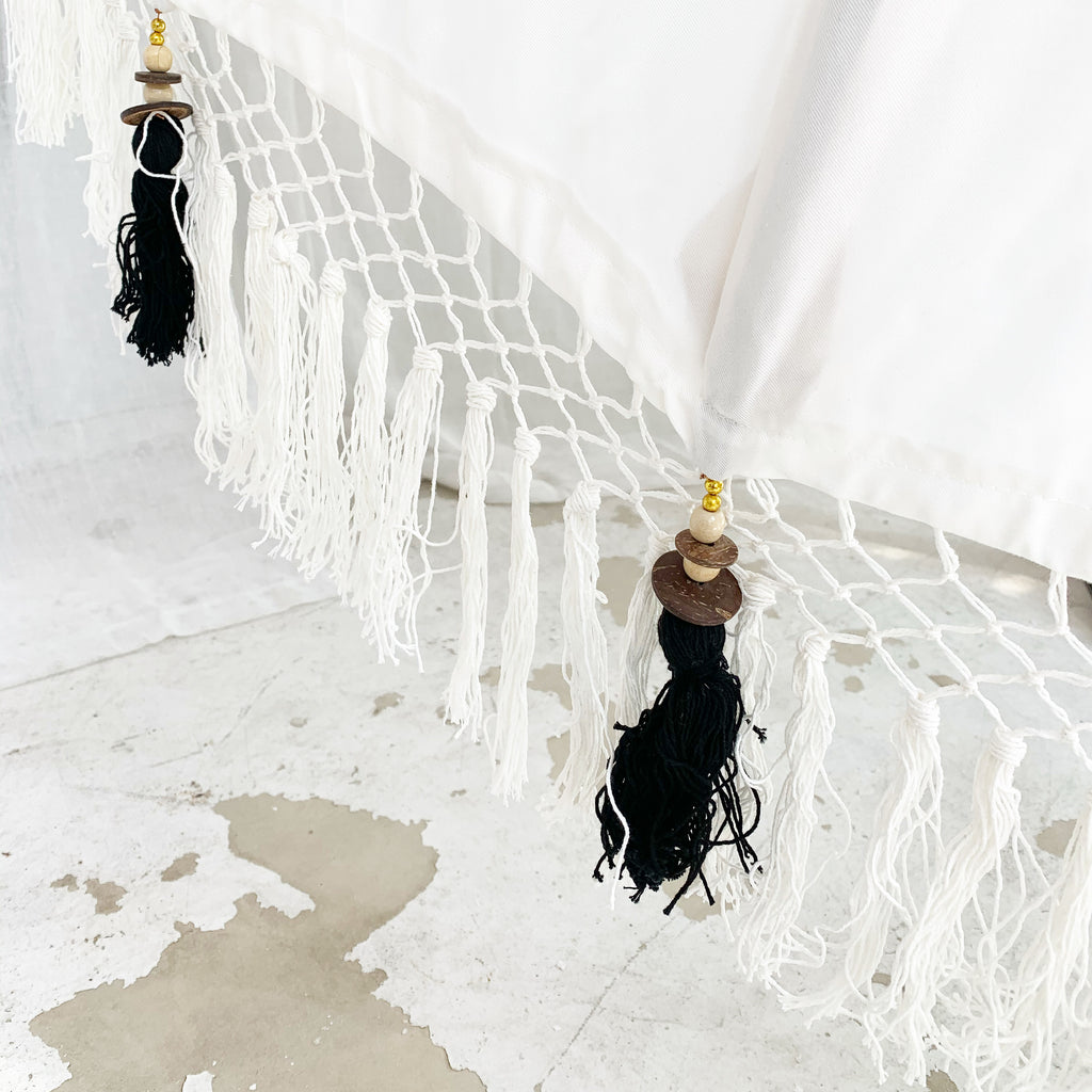 New White Sands with Cream and Black Tassels Bali Umbrella 6ft & 3 ft