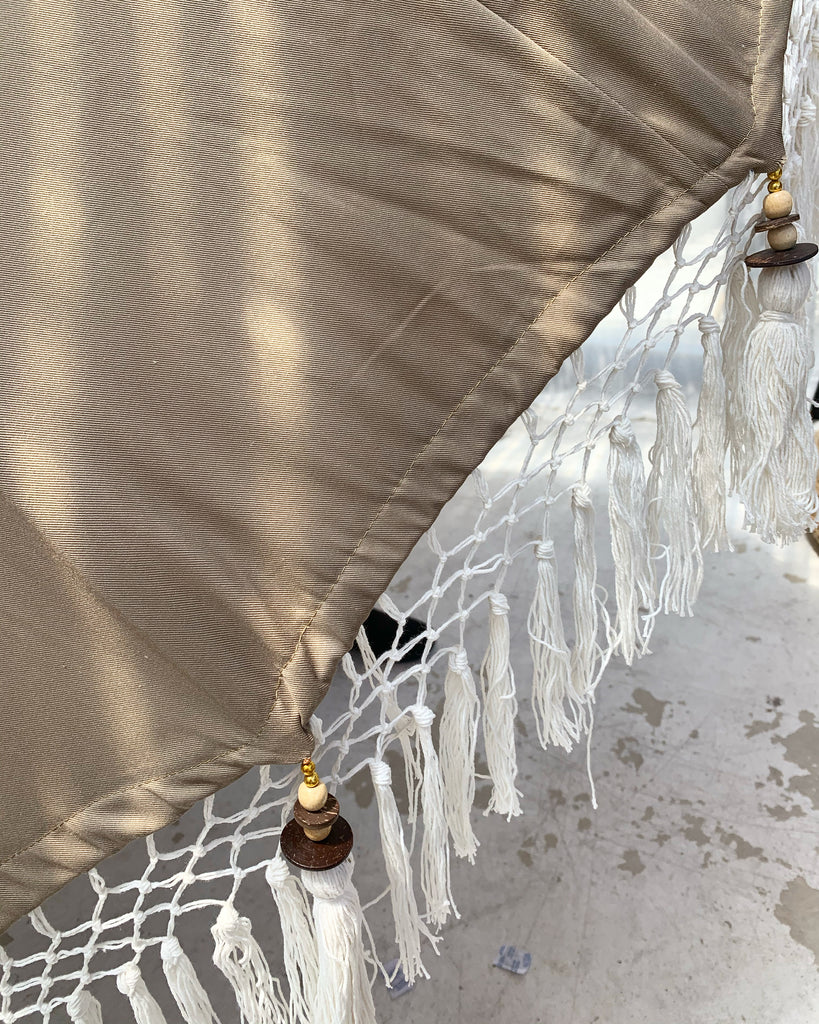 Back in Stock!! - 6FT Cafe Latte Balinese Ceremonial Umbrella with Fringe Bali