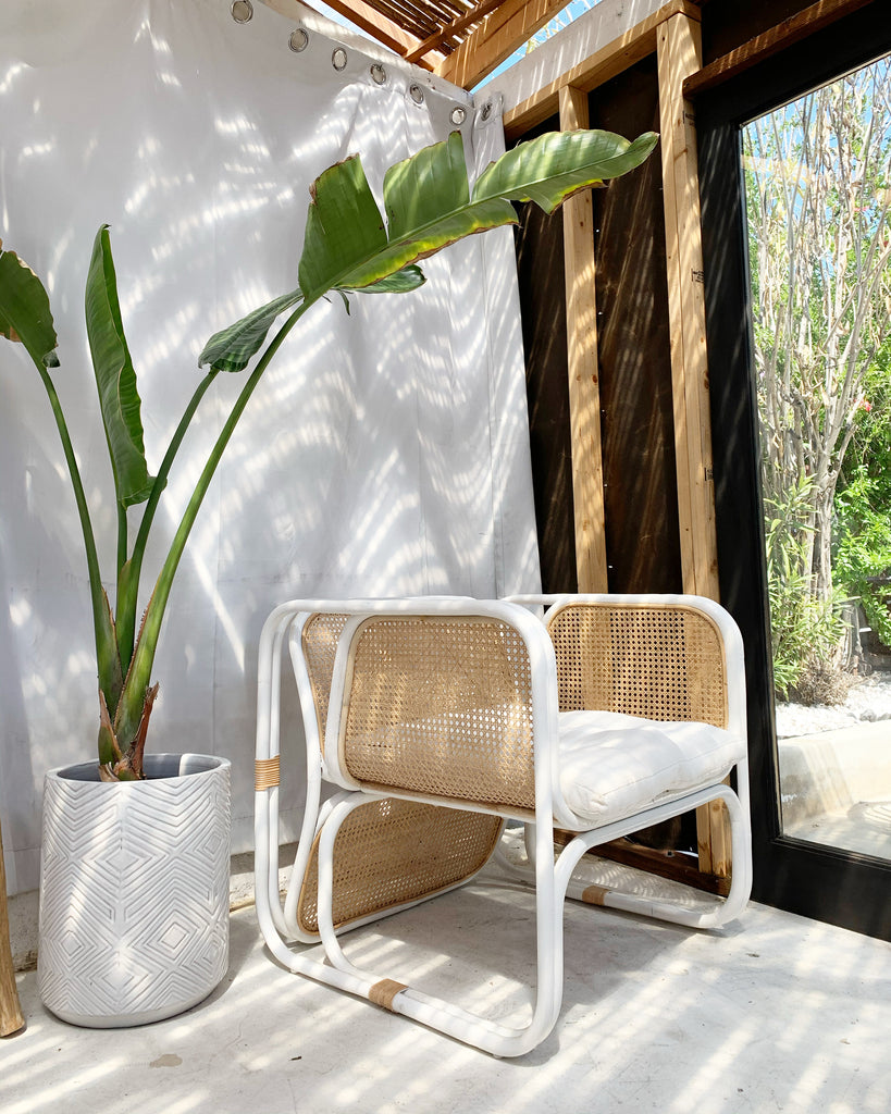 Cypress Rattan Lounge Chair - Natural/White