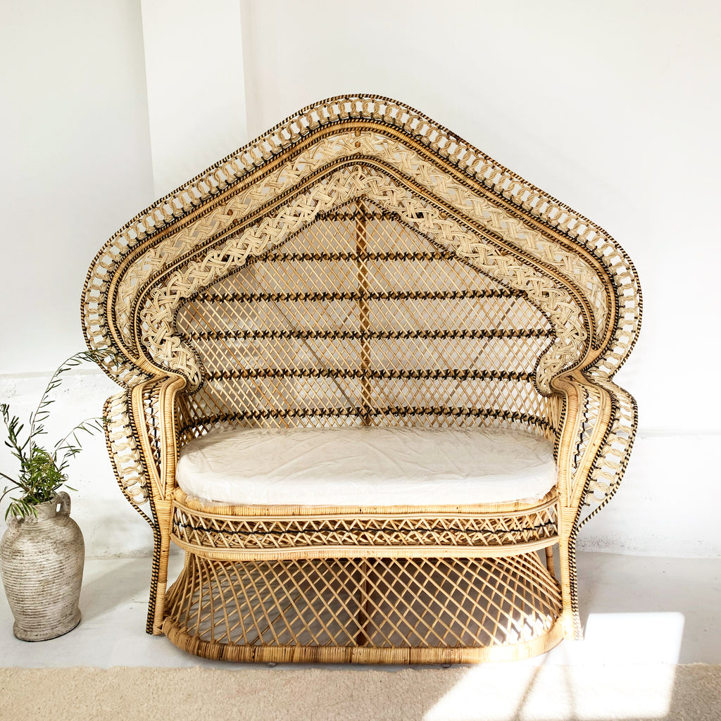 Cobra Peacock Settee Love Seat Chair Natural - Just Landed!