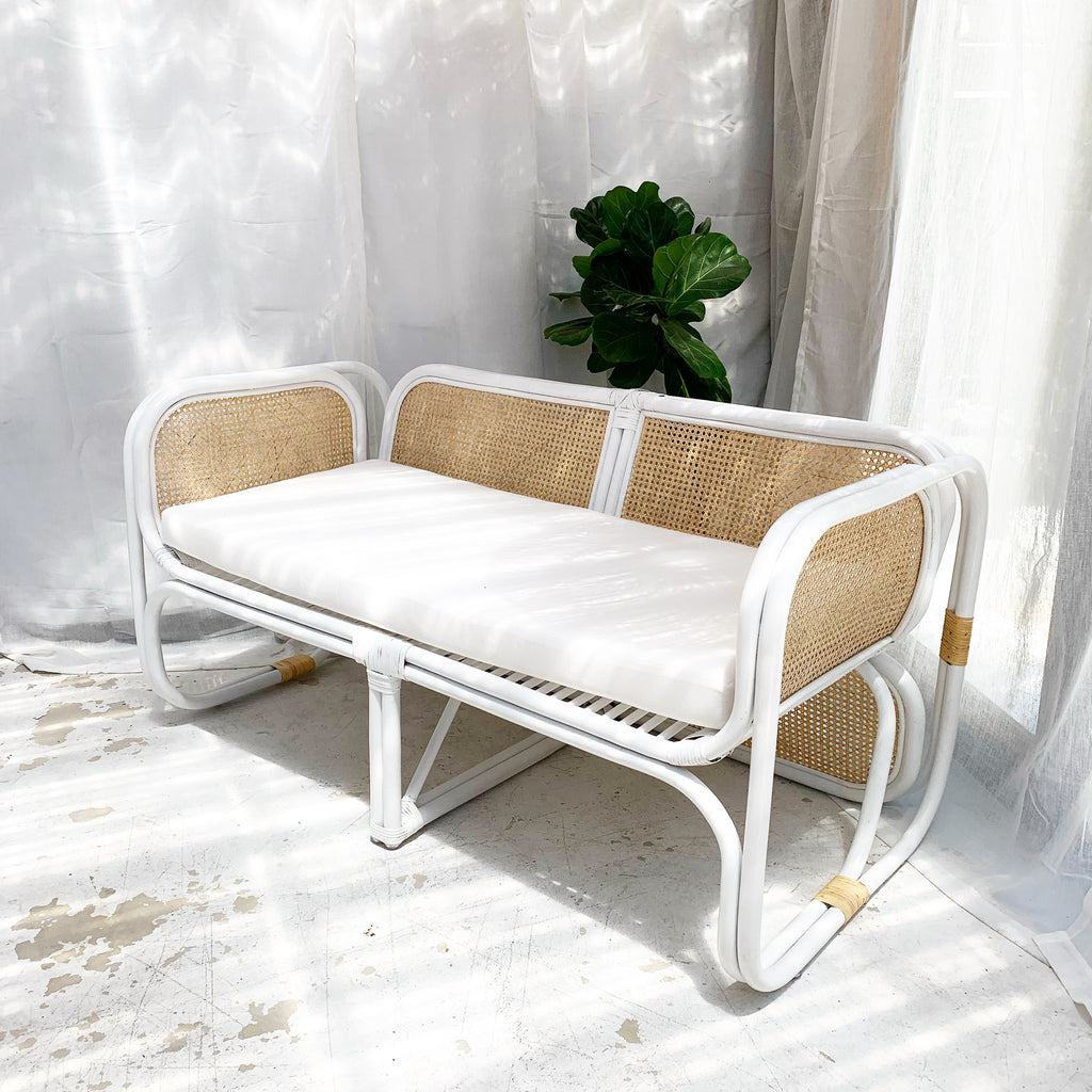 Just Landed!- Cypress Cane Rattan Love Seat Sofa - Natural/ White Frame