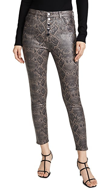 J BRAND - Lillie Coated High Rise Crop Skinny Jeans