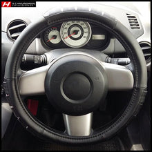Black Steering Wheel Cover with Chrome Lines 38 cm