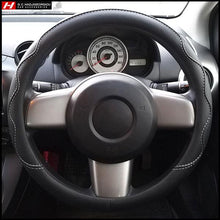 Black Steering Wheel Cover with White Stitching 38 cm