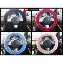 Fur Steering Wheel Cover Fits 36-41cm