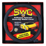 Genuine Leather SWC Black Steering Wheel Cover 38 cm