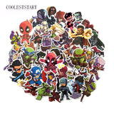 50 Pcs Super Hero Cool Stickers for Laptop Car Styling Phone Bicycles Luggage Motorcycle PVC Waterproof Sticker
