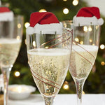 10pcs Xmas Table Place Christmas Santa Hat Champaign/Wine Glass Decorations for Home