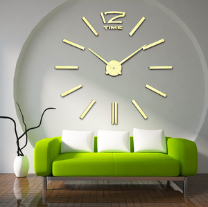 Quartz Diy 3D Wall Clock 20 Inch Large Clock Acrylic Mirror Metal Wall Stickers Home Decoration