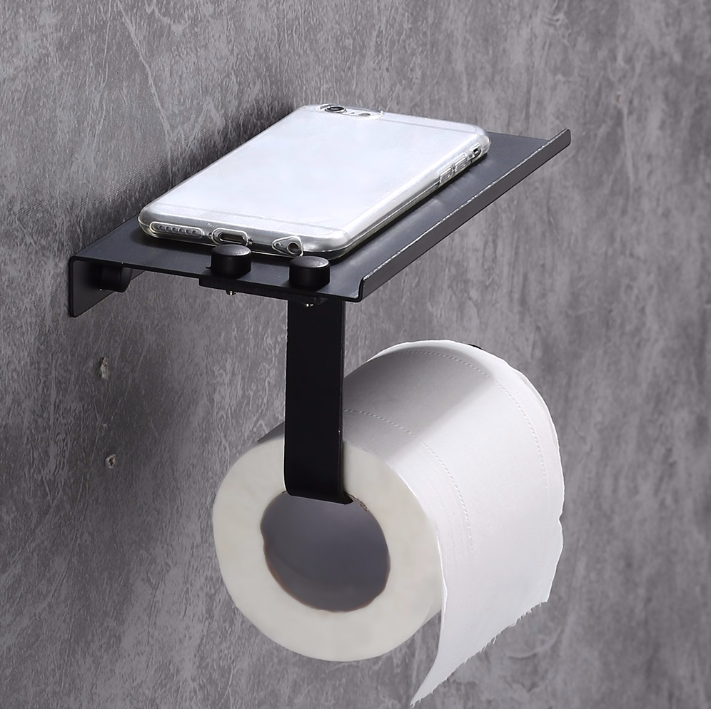 Toilet Roll Paper Phone Holder Bathroom Wall-Mounted Rack