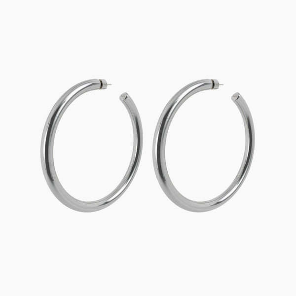 "3"" Linny Hoops Rhodium"