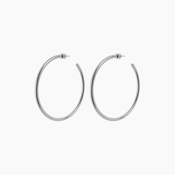 "2.5"" Zara Hoops Rhodium"
