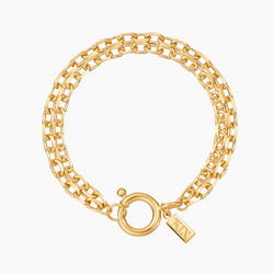 Double Diamond-Cut Anchor Bracelet Gold Vermeil