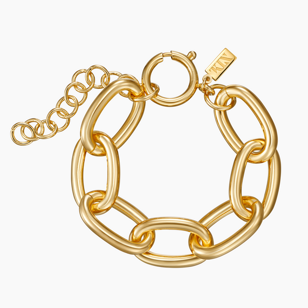 Brass Oval Link Bracelet in Gold