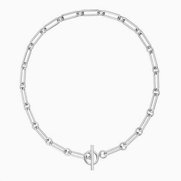 Bar Toggle Necklace Rhodium