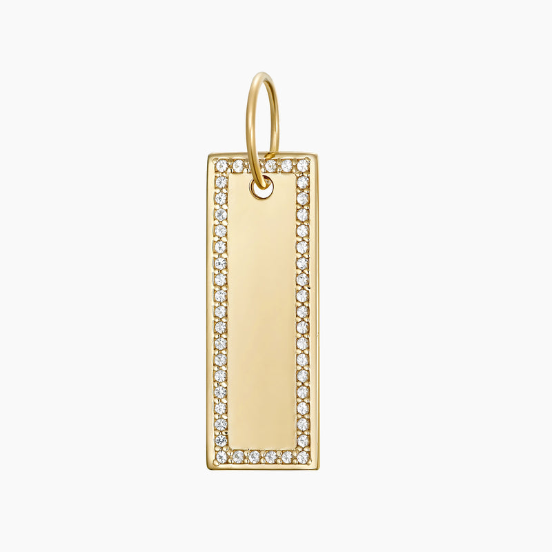 Paved Tag Charm Gold Vermeil