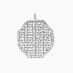 Paved Locket Charm Rhodium