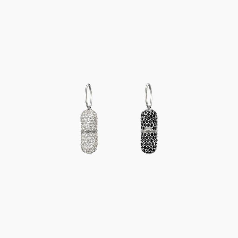 Paved Pill Charm Rhodium