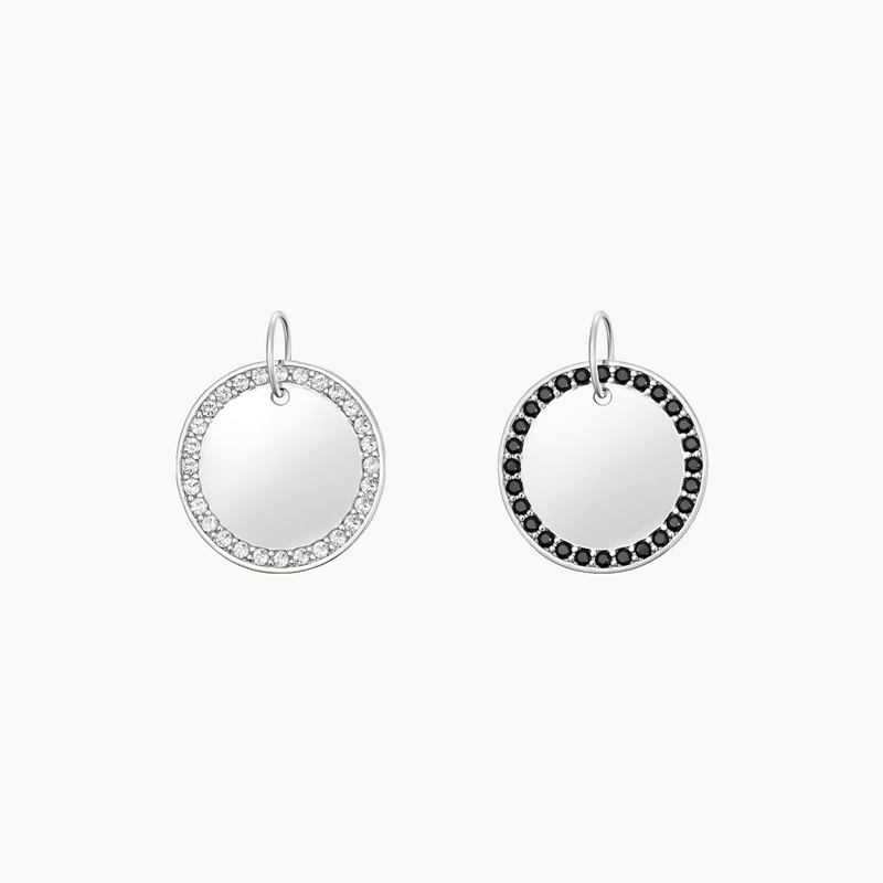 Paved Round Charm Rhodium