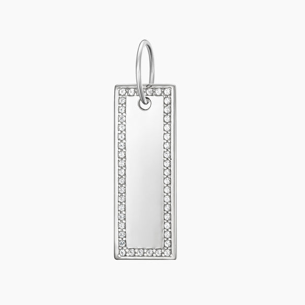 Paved Tag Charm Rhodium