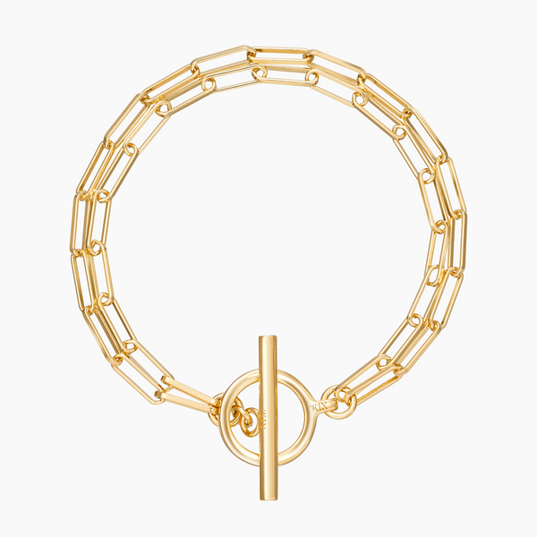 Double Rolo Toggle Bracelet Gold Vermeil
