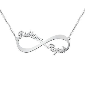 Infinity Love Name Necklace Silver Plated