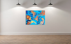 "Turtle Islands - 30"" x 40"" Original Fluid Acrylic Painting"