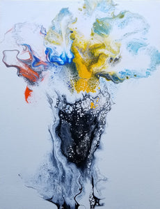 "Flower Vase - 11"" x 14"" Abstract Fluid Acrylic Painting"