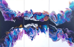 "Black and White Splash Triptych - 20""x 32"" Original Fluid Acrylic Painting"