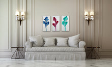 "Load image into Gallery viewer, Petals Triptych - 12"" x 76"" Original Fluid Acrylic Painting"