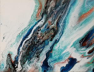 "Surge - 11"" x 14"" Abstract Fluid Acrylic Painting"